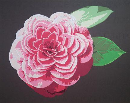 Une fleur de Camélia sur fond de définition Wikipedia, taillée dans le papier à la pointe de mon scalpel... Découpage collage, Carole b