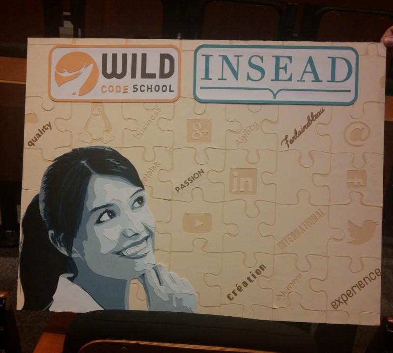 Tableau réalisé pendant le Hackathon 2016 Wildcode School et Insead Fontainebleau (école de webdev et business school). 48h pour le réaliser puis le présenter. Découpage collage papier, Carole b