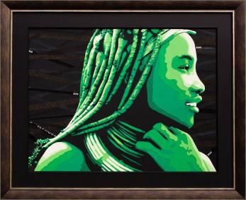 portrait d'une belle femme himba, d'après une photo du national geographic. Découpage collage par Carole b