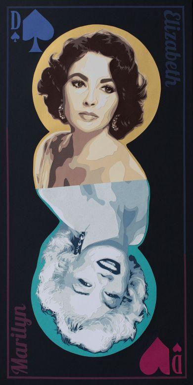 Jeu de mot sur la rivalité féminine. Marilyn Monroe, Elisabeth Taylor, reines du cinéma à accrocher dans les deux sens. Découpage collage papier, Carole b