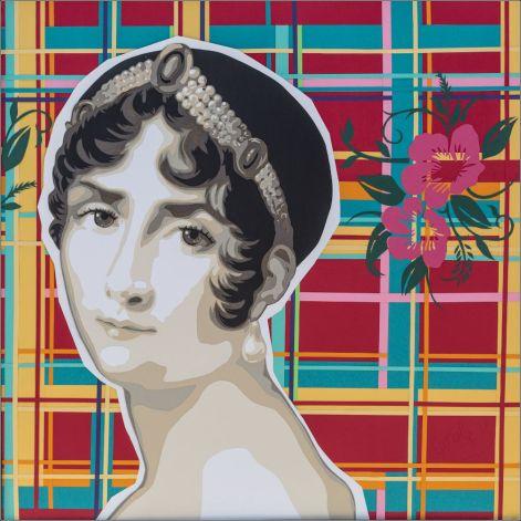 Josephine de Beauharnais, femme de Napoléon Bonaparte, sur fond madras/fleurs, symboles de ses origines martiniquaises. Découpage collage papier Carole b