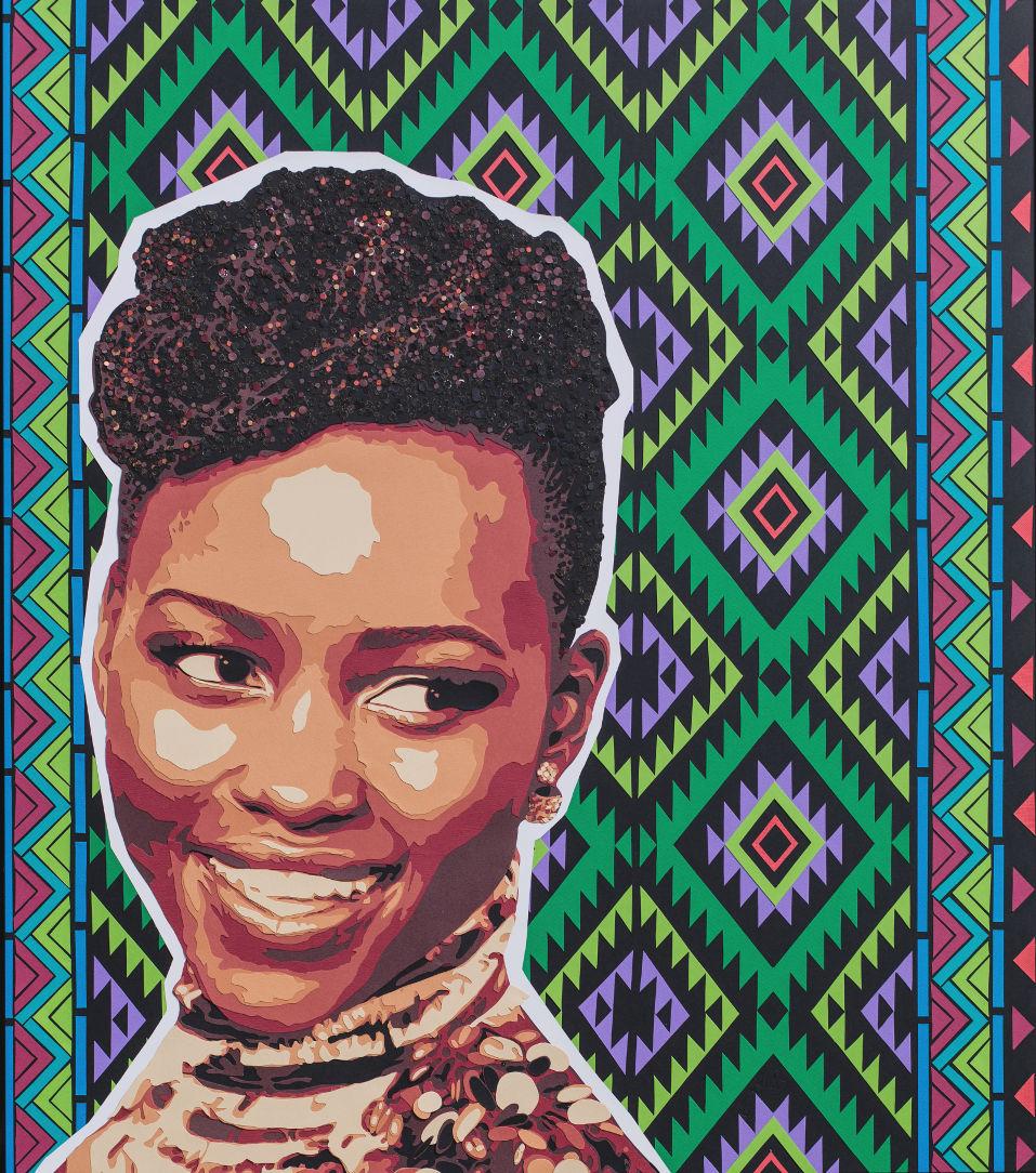 Portrait de Lupita Nyong'o, actrice kényane/mexicaine avec motifs. Découpage collage en papier par Carole b