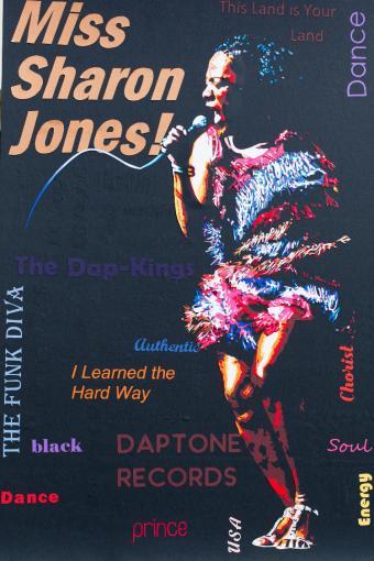 Robe multicolore à franges et paillettes : Sharon Jones sur scène, pleine d'énergie, de fun et de soul ! Découpage collage papier