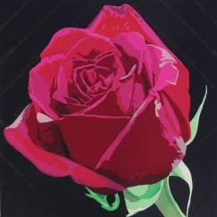 fleur rose en découpage collage de papier sur fond noir, par Carole b