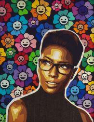 Portrait de Deddeh Howard, beauté noire au combat pour la représentation des mannequins blacks dans la mode. Fond fleuri façon Murakami. Decoupage collage Carole b