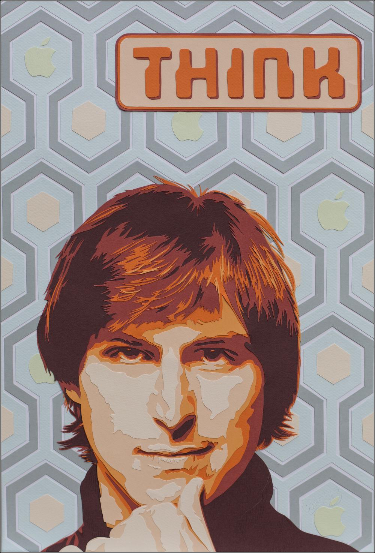 Un papier peint hexagones façon 70's, des mini pommes, des couleurs criardes... Steve Jobs le penseur au cœur dans sa jeunesse! Découpage collage Carole b