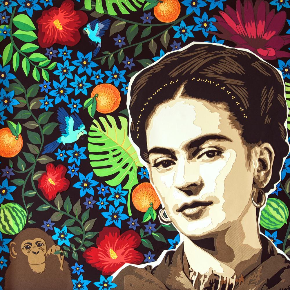 Frida Kahlo, son univers : jungle, singe, perroquet, fleur, orange, pastèque... Le titre rappelle son dernier tableau. Découpage collage papier, Carole b