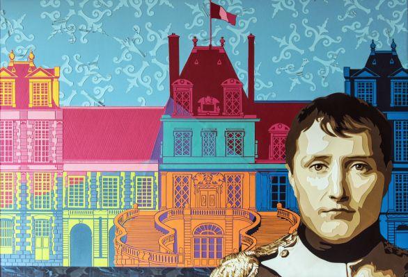 Portrait de Napoléon Bonaparte dans la cour des adieux du château multicolore de Fontainebleau. Découpage collage, papier par Carole b.