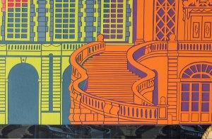 Escalier orange sur fond violet et architecture du château de Fontainebleau en vert fluo et bleu. Découpage collage par Carole b.