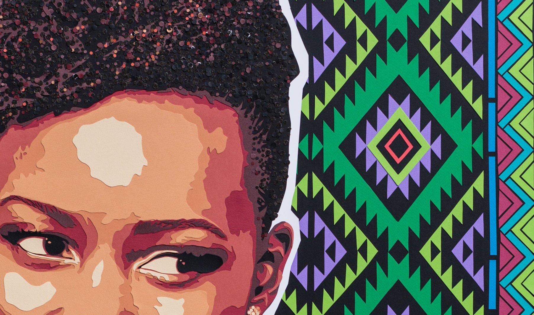 Détail visage Lupita Nyong'o actrice 12 years a slave, sur fond géométrique (Mexique, Kenya). Découpage collage Carole b
