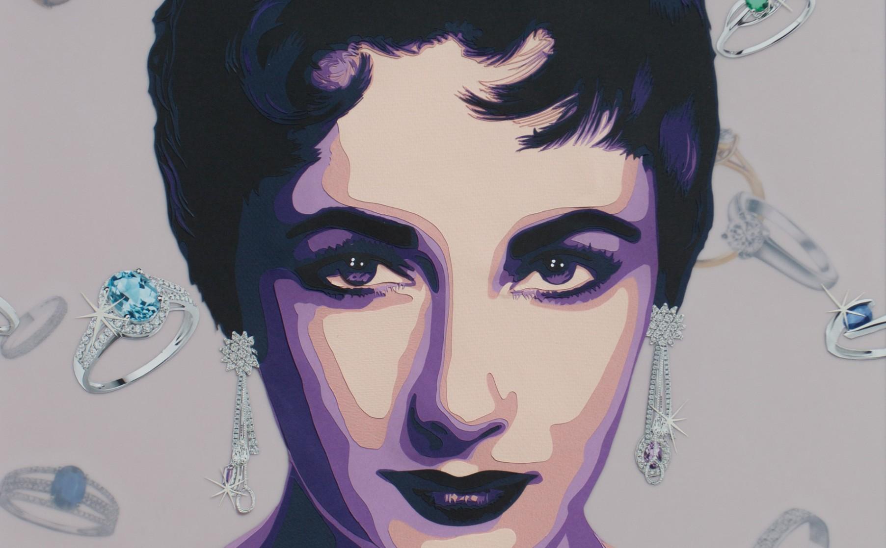 Actrice Liz Taylor aux yeux violet et aux bijoux. Découpage collage papier Carole b