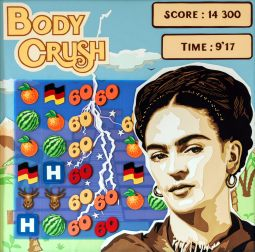 Référence à Candy Crush autour de Frida Khalo. Allemagne, Mexique, accident, son dernier tableau... L'essentiel en découpage collage papier par Carole b