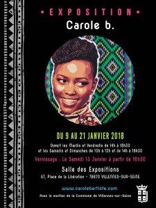 Affiche de l'exposition de Carole b. avec le visage de l'actrice Lupita Nyongo avec des motifs mexicains/kényans.
