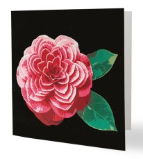 """""""Camelia part. 1"""" 14 x 14 cm, carte postale pliée, papier brillant 350 gr, intérieur vierge. Enveloppe fournie"""