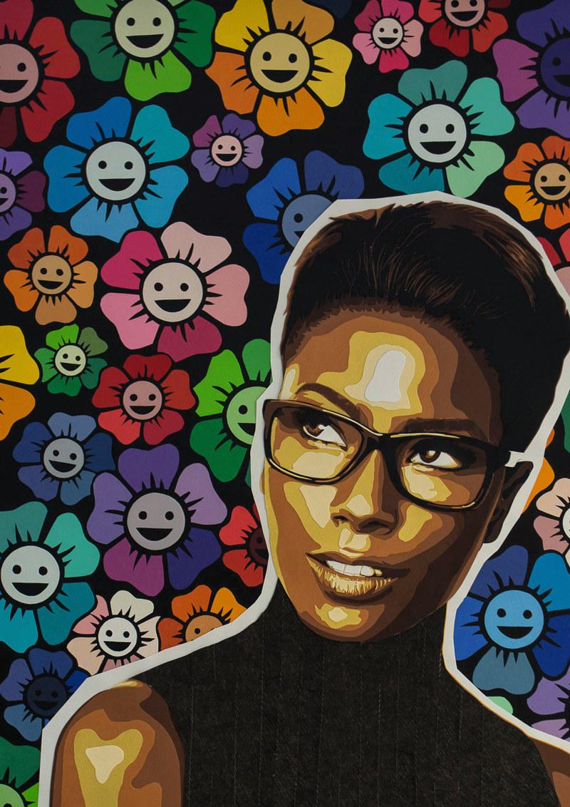Ici mon model, c'est Deddeh Howard, un mannequin noir qui recréée des publicités célèbres pour dénoncer le manque de diversité ethnique dans le monde de la mode. J'ai souhaité appuyer sa démarche en recréant des fleurs, façon Murakami, un artiste japonais qui a notamment collaboré avec la marque Louis Vuitton. Et voilà, la boucle est bouclée ! 2017 65 X 50 cm Découpage collage papier