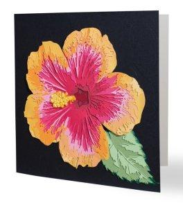 """""""Hibiscus"""" 14 x 14 cm, carte postale pliée, papier brillant 350 gr, intérieur vierge. Enveloppe fournie"""