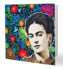 """""""Viva la Frida"""" 14 x 14 cm, carte postale pliée, papier brillant 350 gr, intérieur vierge. Enveloppe fournie"""