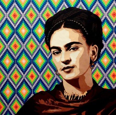« Viva la Frida ! 2» 2017 – 100 x 100 cm. Découpage collage, papier, vernis sur toile. Cadre non fourni