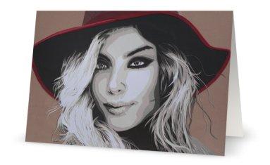 """""""Chapeau Rouge"""" 11,7 x 18,2 cm, carte postale pliée, papier brillant 350 gr, intérieur vierge. Enveloppe fournie"""