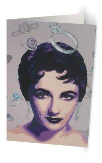 """""""Mes Amours, Liz"""" 11,7 x 18,2 cm carte postale pliée, papier brillant 350 gr, intérieur vierge. Enveloppe fournie"""