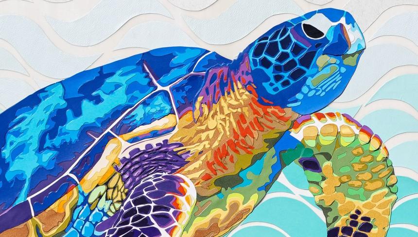 Marine-detail-carole-b-decoupage-collage-tortue-pop-multicolore-vague