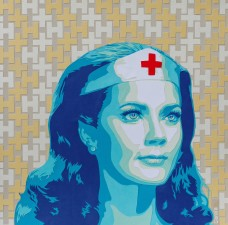 """""""Wonder Women 2"""" 2018 - 60 x 60 cm Découpage collage papier, vernis"""