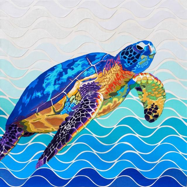 « Marine » 2017 – 80 x 80 cm. Découpage collage, papier, vernis sur toile. Cadre non fourni