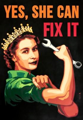 Yes, She can Fix it - 2018 - 70 x 100 cm Découpage collage, papier, vernis.Tableau fourni sans encadrement.