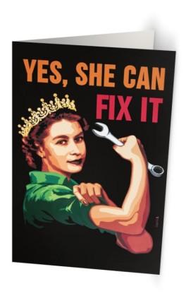 """""""Yes, She can fix it"""" 11,7 x 18,2 cm carte postale pliée, papier brillant 350 gr, intérieur vierge. Enveloppe fournie"""