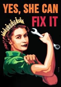 """""""Yes, she can fix it"""" Découpage collage papier 70x100cm. Non disponible"""