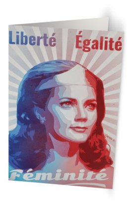 """""""Liberté Égalité Féminité"""" 11,7 x 18,2 cm carte postale pliée, papier brillant 350 gr, intérieur vierge. Enveloppe fournie"""
