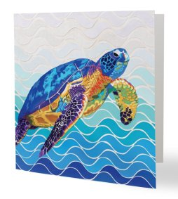 """""""Marine"""" 14 x 14 cm carte postale pliée, papier brillant 350 gr, intérieur vierge. Enveloppe fournie"""