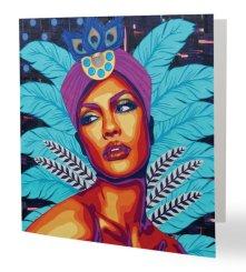 """""""Oiseau de Paradis 2"""" 14 x 14 cm Carte postale pliée, papier brillant 350 gr, intérieur vierge. Enveloppe fournie"""
