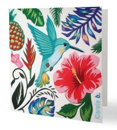 """""""Un Coin de Paradis 3"""" 14 x 14 cm, carte postale pliée, papier brillant 350 gr, intérieur vierge. Enveloppe fournie"""