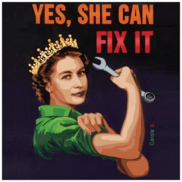 """""""Yes, She can Fix it"""" 14 x 14 cm, carte postale pliée, papier mat 300 gr, intérieur vierge. Enveloppe fournie"""